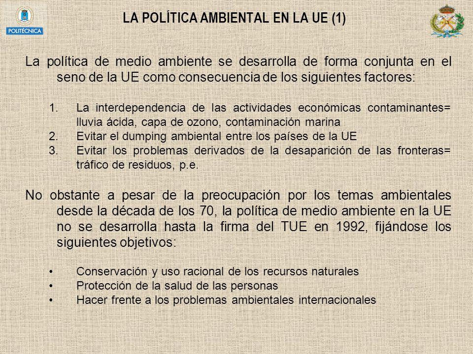 LA POLÍTICA AMBIENTAL EN LA UE (1) La política de medio ambiente se desarrolla de forma conjunta en el seno de la UE como consecuencia de los siguient