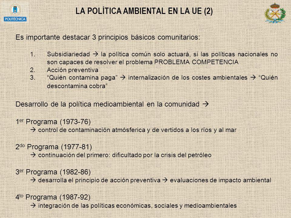 LA POLÍTICA AMBIENTAL EN LA UE (2) Es importante destacar 3 principios básicos comunitarios: 1.Subsidiariedad la política común solo actuará, si las p