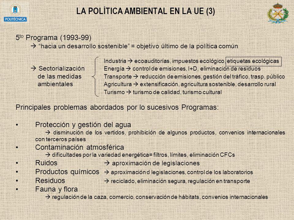 LA POLÍTICA AMBIENTAL EN LA UE (3) 5 to Programa (1993-99) hacia un desarrollo sostenible = objetivo último de la política común Industria ecoauditorí