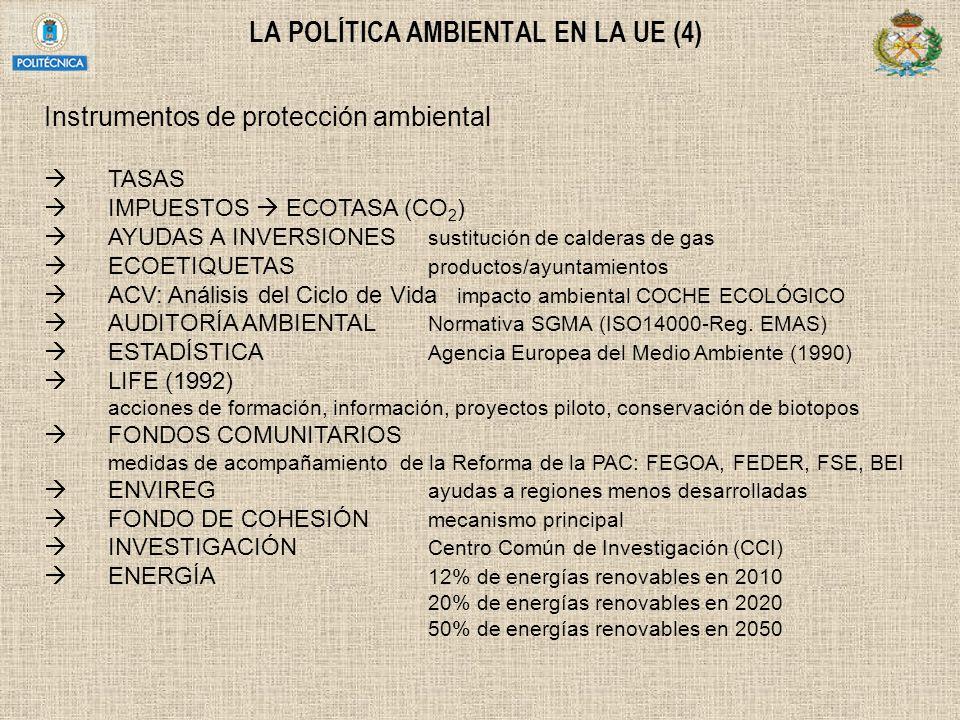 LA POLÍTICA AMBIENTAL EN LA UE (4) Instrumentos de protección ambiental TASAS IMPUESTOS ECOTASA (CO 2 ) AYUDAS A INVERSIONES sustitución de calderas d
