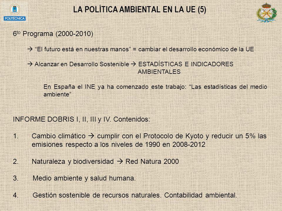 LA POLÍTICA AMBIENTAL EN LA UE (5) 6 to Programa (2000-2010) El futuro está en nuestras manos = cambiar el desarrollo económico de la UE Alcanzar en D