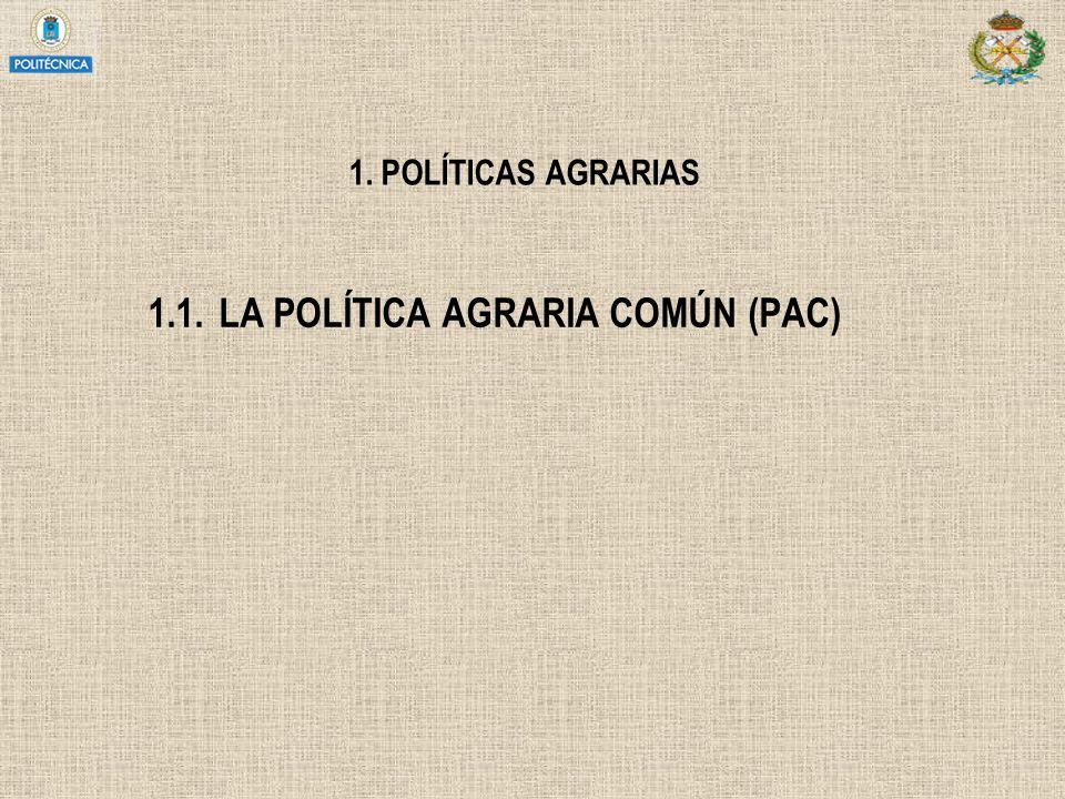 1. POLÍTICAS AGRARIAS 1.1.LA POLÍTICA AGRARIA COMÚN (PAC)