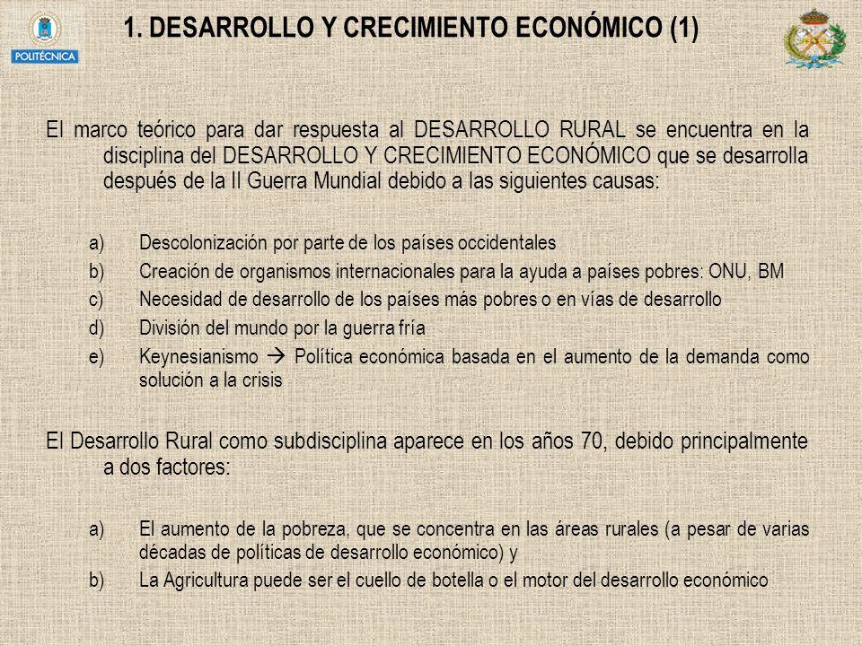 1. DESARROLLO Y CRECIMIENTO ECONÓMICO (1) El marco teórico para dar respuesta al DESARROLLO RURAL se encuentra en la disciplina del DESARROLLO Y CRECI