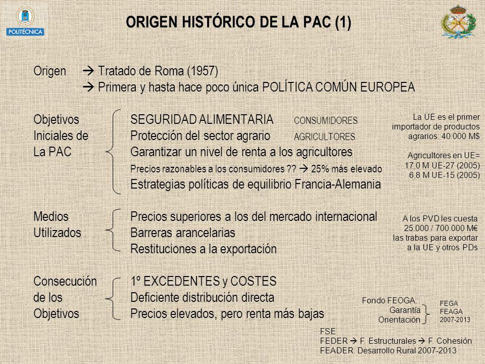 ORIGEN HISTÓRICO DE LA PAC (1) Origen Tratado de Roma (1957) Primera y hasta hace poco única POLÍTICA COMÚN EUROPEA ObjetivosSEGURIDAD ALIMENTARIA CON