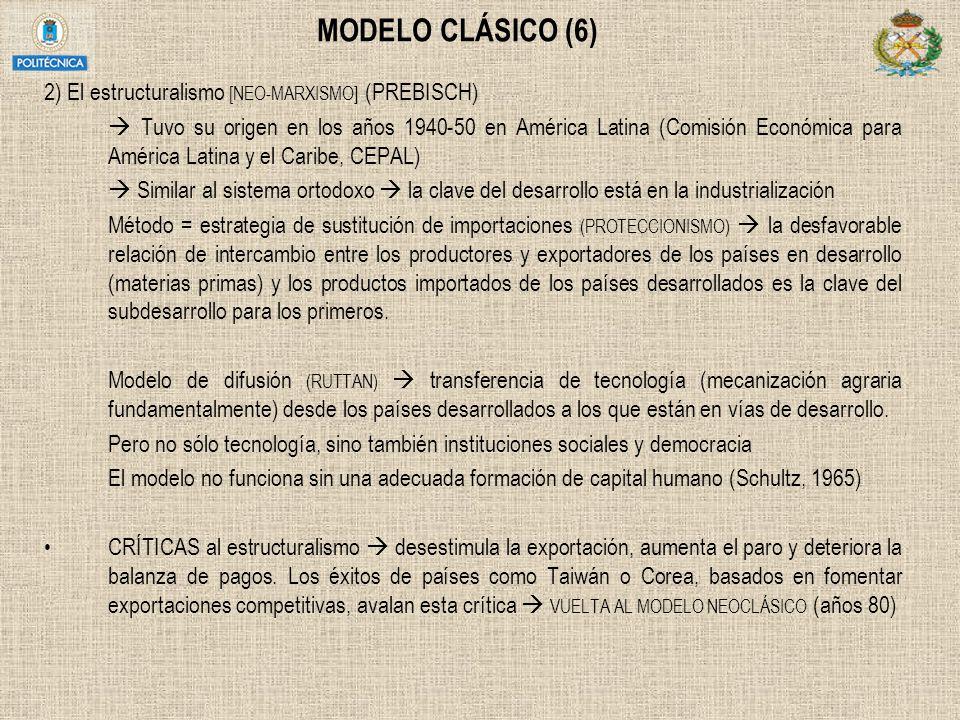 MODELO CLÁSICO (6) 2) El estructuralismo [NEO-MARXISMO] (PREBISCH) Tuvo su origen en los años 1940-50 en América Latina (Comisión Económica para Améri