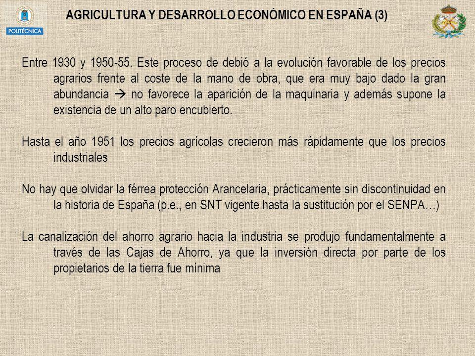 AGRICULTURA Y DESARROLLO ECONÓMICO EN ESPAÑA (3) Entre 1930 y 1950-55. Este proceso de debió a la evolución favorable de los precios agrarios frente a