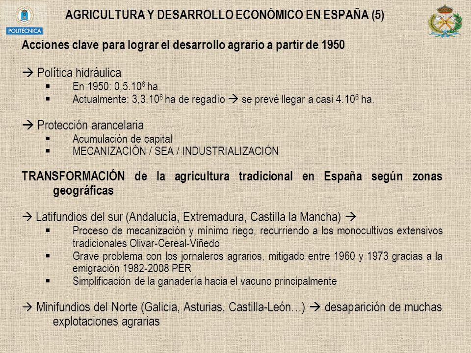 AGRICULTURA Y DESARROLLO ECONÓMICO EN ESPAÑA (5) Acciones clave para lograr el desarrollo agrario a partir de 1950 Política hidráulica En 1950: 0,5.10