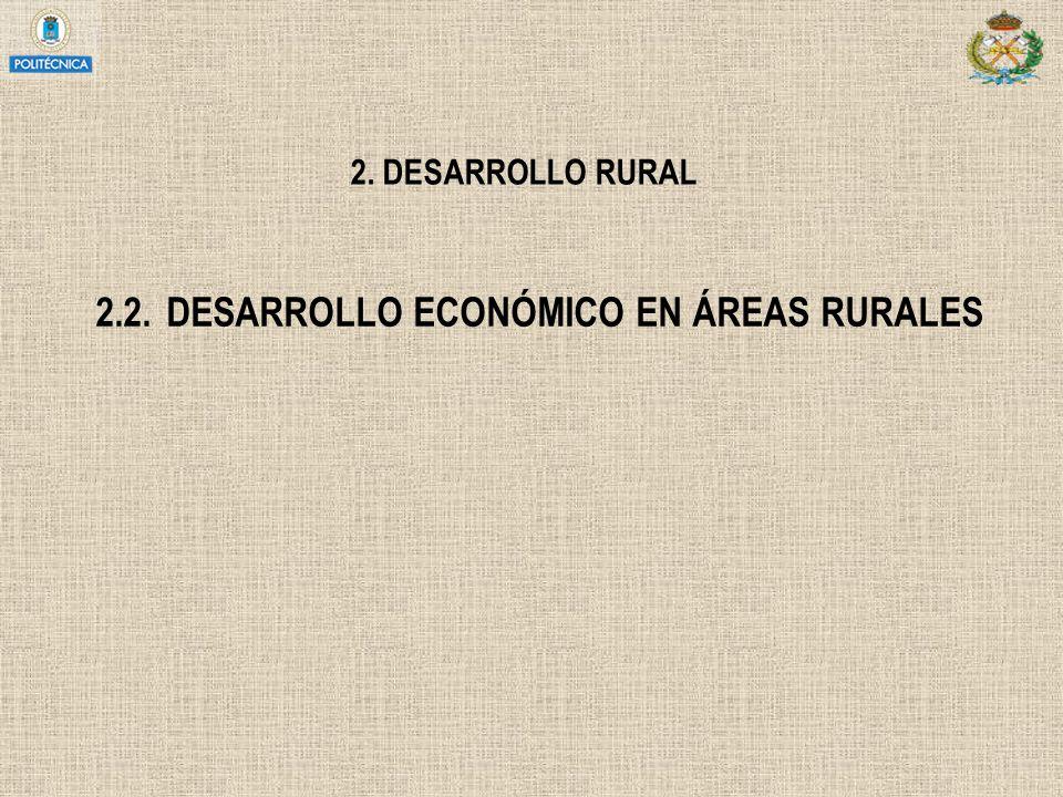 2. DESARROLLO RURAL 2.2.DESARROLLO ECONÓMICO EN ÁREAS RURALES