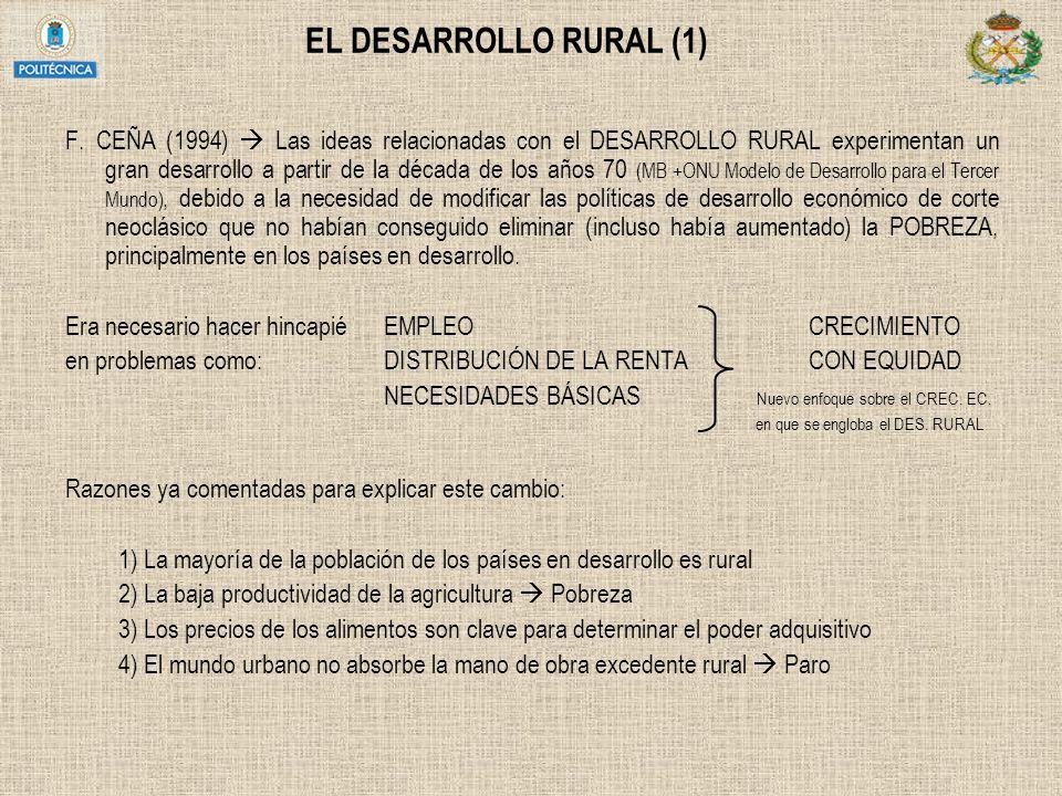EL DESARROLLO RURAL (1) F. CEÑA (1994) Las ideas relacionadas con el DESARROLLO RURAL experimentan un gran desarrollo a partir de la década de los año
