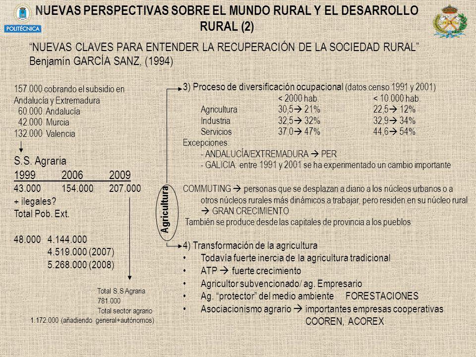 NUEVAS PERSPECTIVAS SOBRE EL MUNDO RURAL Y EL DESARROLLO RURAL (2) 157.000 cobrando el subsidio en Andalucía y Extremadura 60.000 Andalucía 42.000 Mur