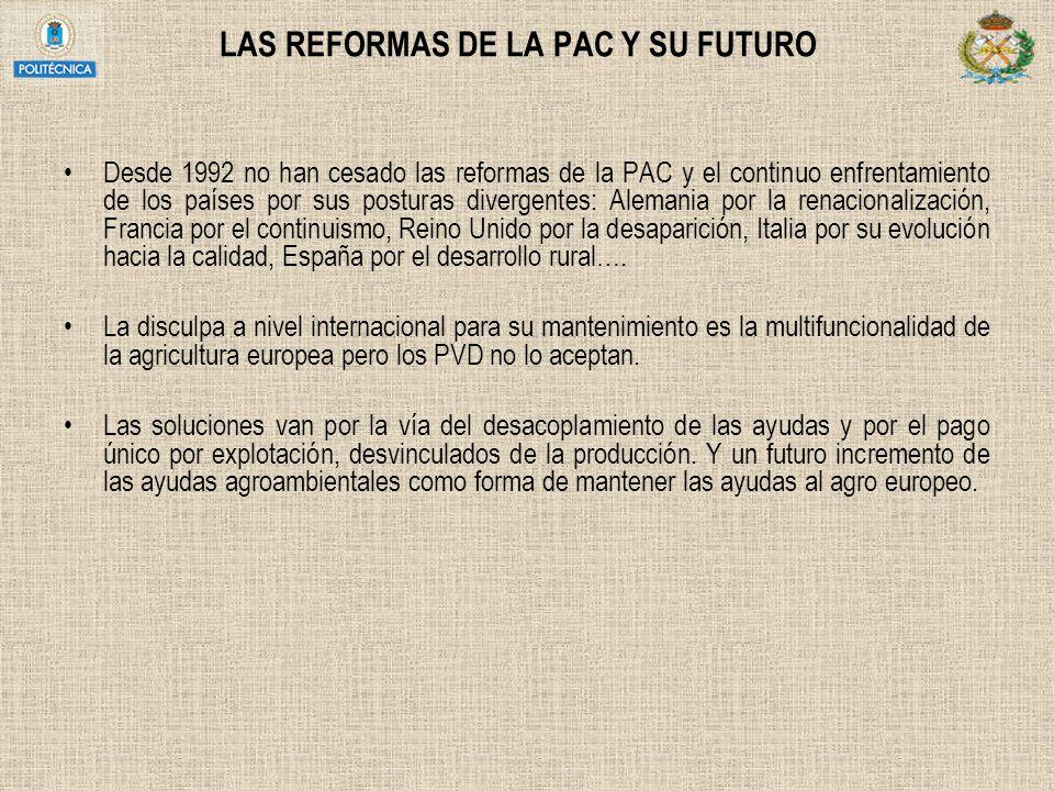 EL DESARROLLO RURAL EN ESPAÑA (7) Programas de Desarrollo Rural para el período 2007-2013 2007 ley para el Desarrollo Sostenible del Medio Rural FEADER (2005) Plan Estratégico nacional D.R 2007-2013 7.214 M FEADER (en el período 2000-2006 fueron 9.230 M FEOGA) ~ 5.000 M para las regiones de convergencia Andalucía, Castilla La Mancha, Extremadura, galicia, Asturias y Murcia El Estado se ha comprometido a añadir 3.000 M para paliar el descenso de fondos europeos en las regiones más desarrolladas principalmente Desaparece la distinción LEADER y PRODER y pasan a ser Programas de DESARROLLO RURAL de cada CCAA bajo el método LEADER
