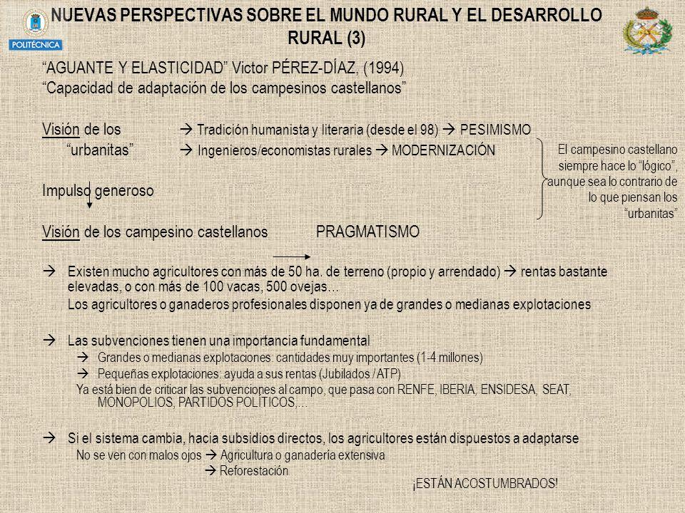 NUEVAS PERSPECTIVAS SOBRE EL MUNDO RURAL Y EL DESARROLLO RURAL (3) AGUANTE Y ELASTICIDAD Victor PÉREZ-DÍAZ, (1994) Capacidad de adaptación de los camp