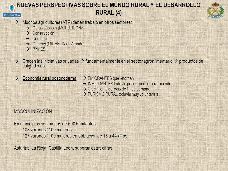 NUEVAS PERSPECTIVAS SOBRE EL MUNDO RURAL Y EL DESARROLLO RURAL (4) Muchos agricultores (ATP) tienen trabajo en otros sectores: Obras públicas (MOPU, I