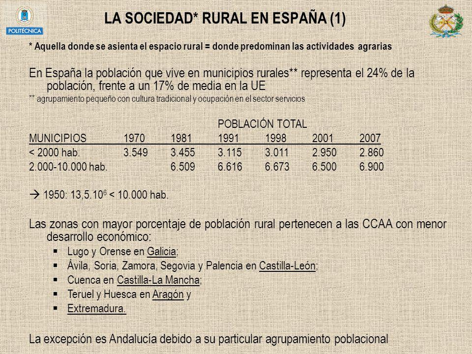 LA SOCIEDAD* RURAL EN ESPAÑA (1) * Aquella donde se asienta el espacio rural = donde predominan las actividades agrarias En España la población que vi