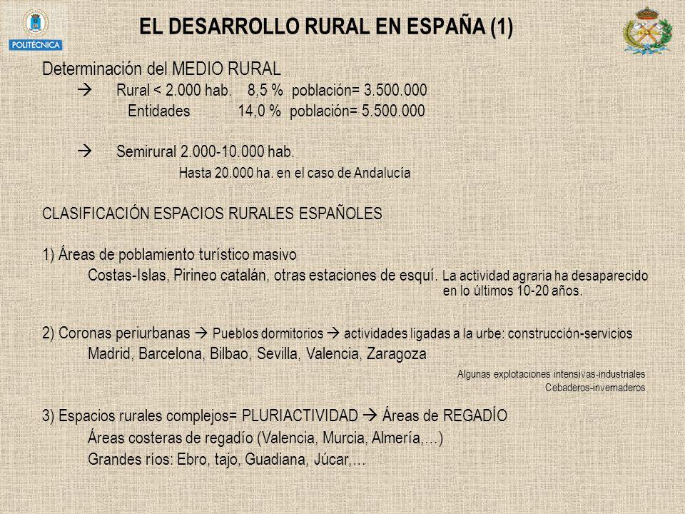 EL DESARROLLO RURAL EN ESPAÑA (1) Determinación del MEDIO RURAL Rural < 2.000 hab. 8,5 % población= 3.500.000 Entidades 14,0 % población= 5.500.000 Se
