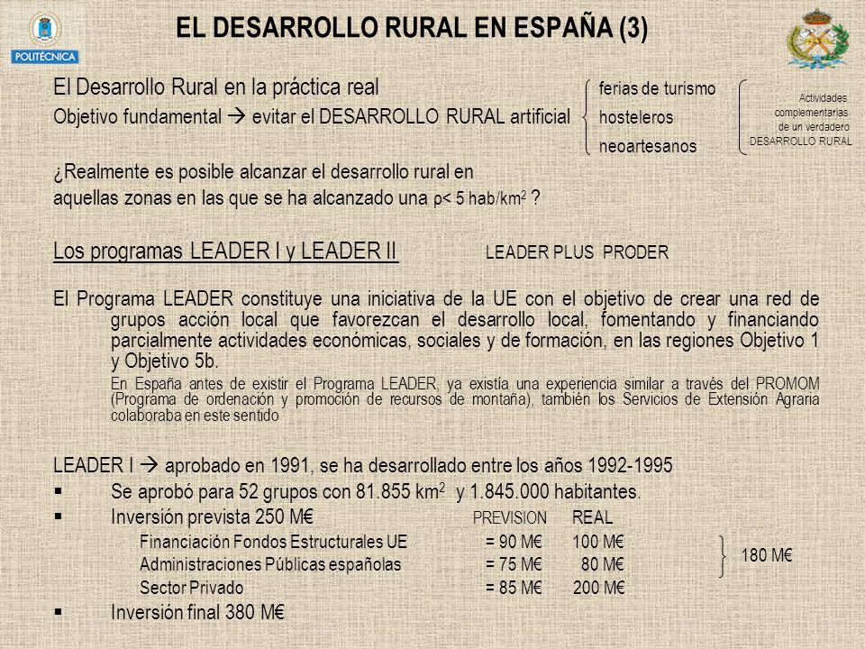EL DESARROLLO RURAL EN ESPAÑA (3) El Desarrollo Rural en la práctica real ferias de turismo Objetivo fundamental evitar el DESARROLLO RURAL artificial