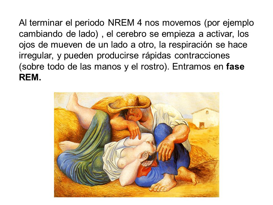 Al terminar el periodo NREM 4 nos movemos (por ejemplo cambiando de lado), el cerebro se empieza a activar, los ojos de mueven de un lado a otro, la respiración se hace irregular, y pueden producirse rápidas contracciones (sobre todo de las manos y el rostro).
