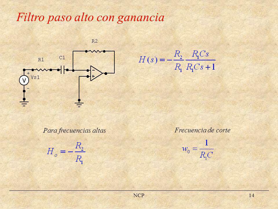 NCP15 Filtro paso banda Para frecuencias altas Frecuencias de corte