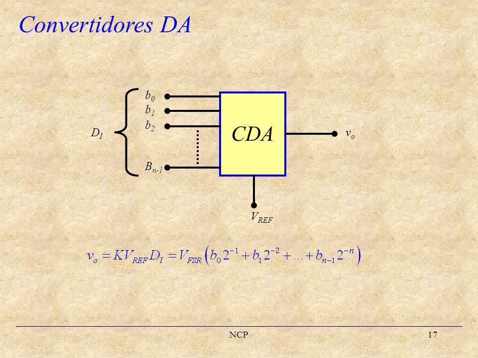 NCP18 Rango de fondo de escala (FSV) Valor de fondo de escala (FSR) Resolución Especificacion de un CDA