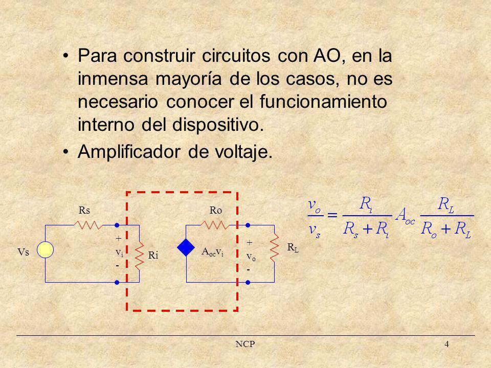 NCP5 av D roro rdrd -vD+-vD+ - + vOvO a r d = r o = 0 v o = av D = a(v P -v N ) AO Ideal i N = 0 VPVP i P = 0 VNVN