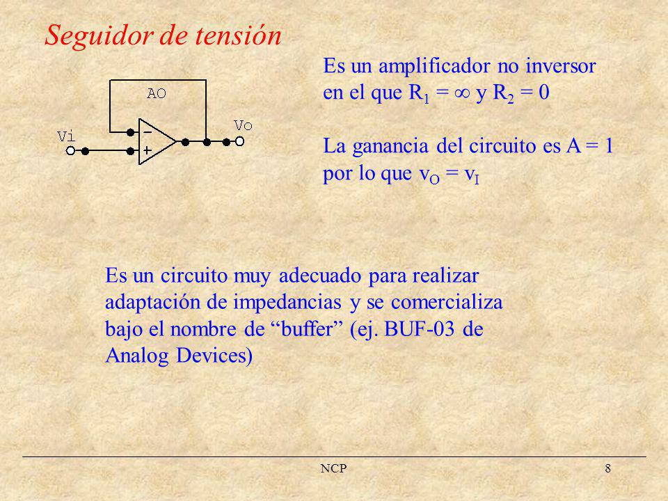 NCP9 Análisis de otras configuraciones (AO ideal) Amplificador sumador Utilizando el concepto de corto virtual entre v P y v N obtenemos