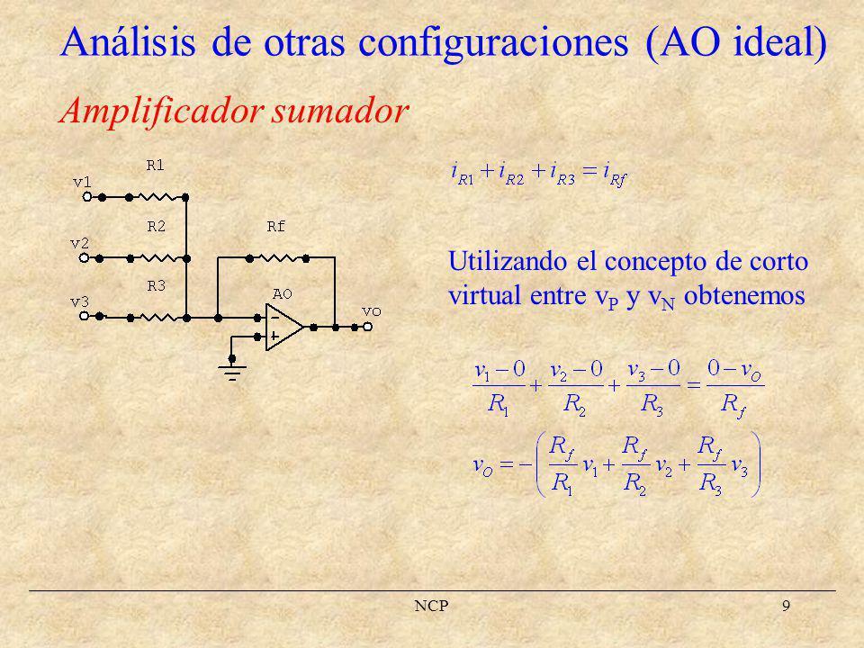 NCP10 Amplificador restador Aplicando el principio de superposición v O = v O1 + v O2, donde v O1 es v O con v 2 = 0 y v O2 es v O con v 1 = 0