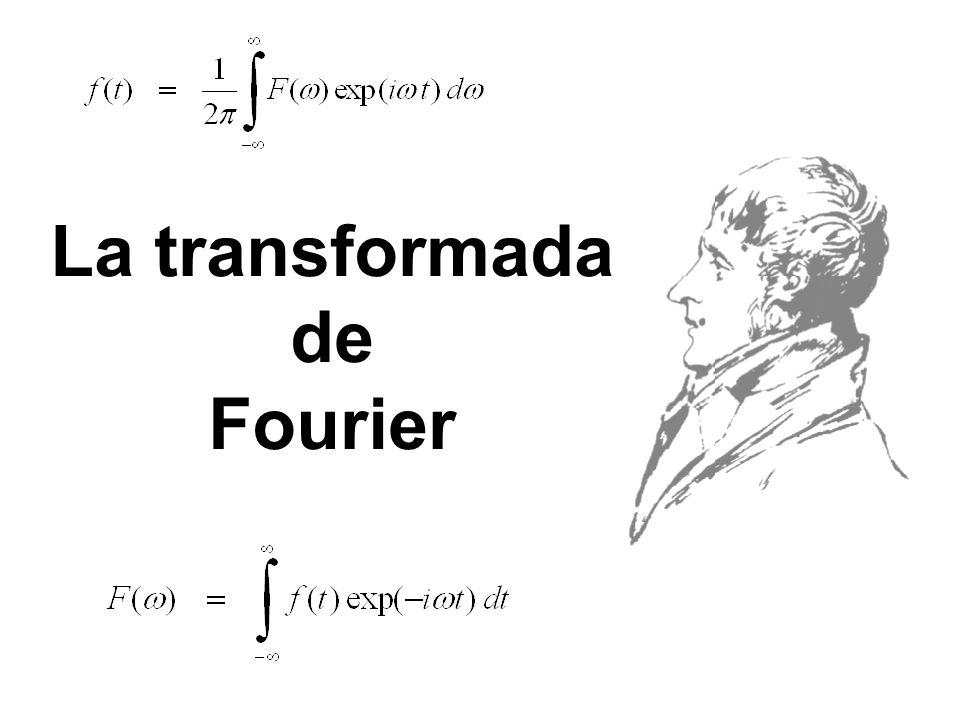 La transformada de Fourier Es decir, donde: Estas expresiones nos permiten calcular la expresión F( ) (dominio de la frecuencia) a partir de f(t) (dominio del tiempo) y viceversa.