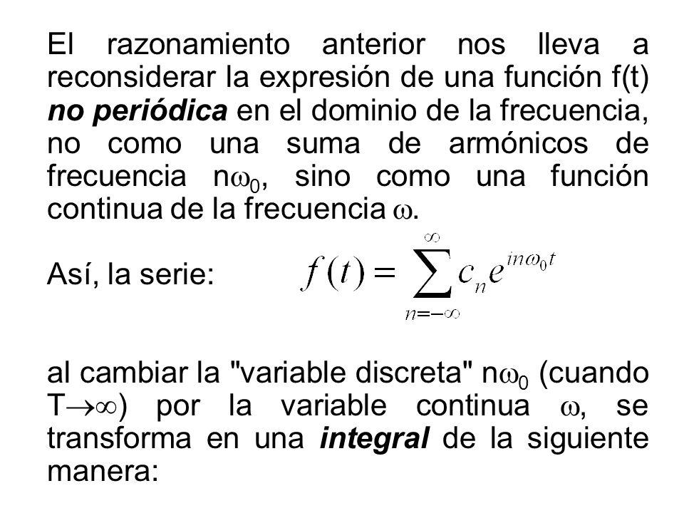 El razonamiento anterior nos lleva a reconsiderar la expresión de una función f(t) no periódica en el dominio de la frecuencia, no como una suma de ar