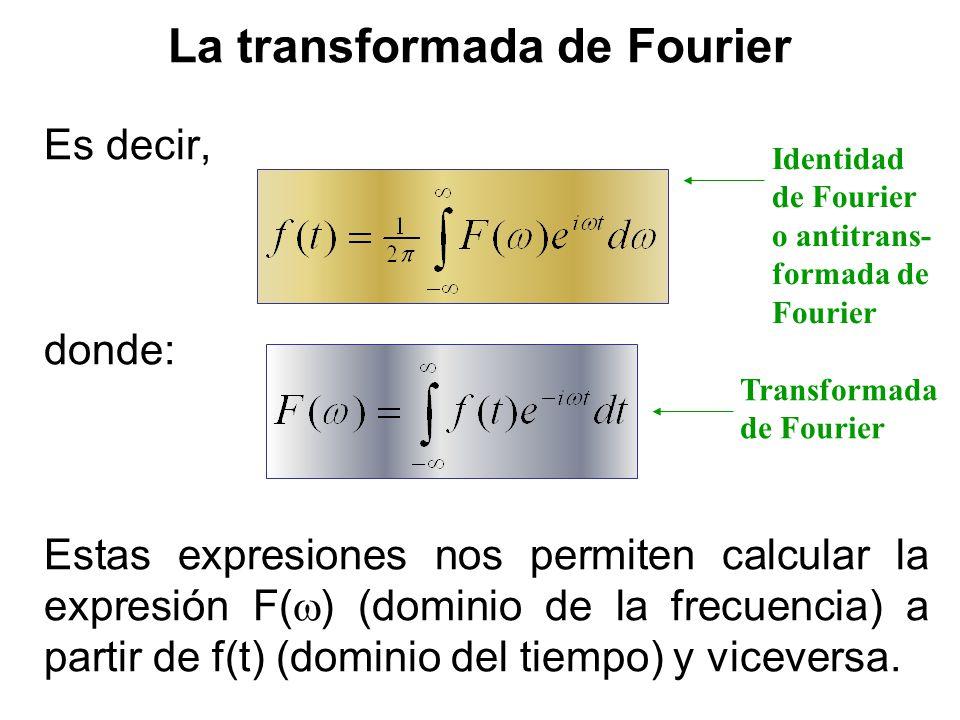 La transformada de Fourier Es decir, donde: Estas expresiones nos permiten calcular la expresión F( ) (dominio de la frecuencia) a partir de f(t) (dom