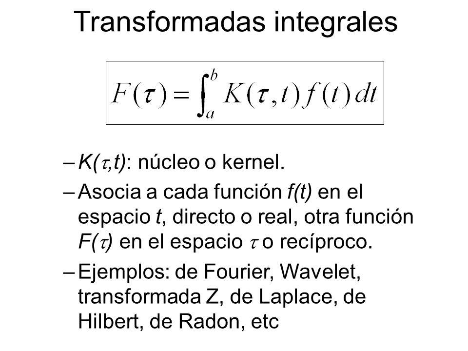 Transformadas integrales –K(,t): núcleo o kernel. –Asocia a cada función f(t) en el espacio t, directo o real, otra función F( ) en el espacio o recíp