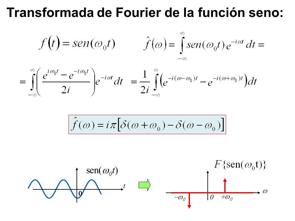 Transformada de Fourier de la función seno: sen( 0 t) t