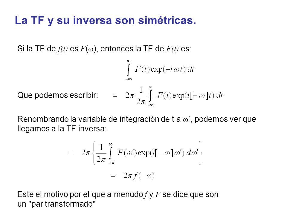 La TF y su inversa son simétricas. Si la TF de f(t) es F ( ), entonces la TF de F(t) es: Renombrando la variable de integración de t a, podemos ver qu