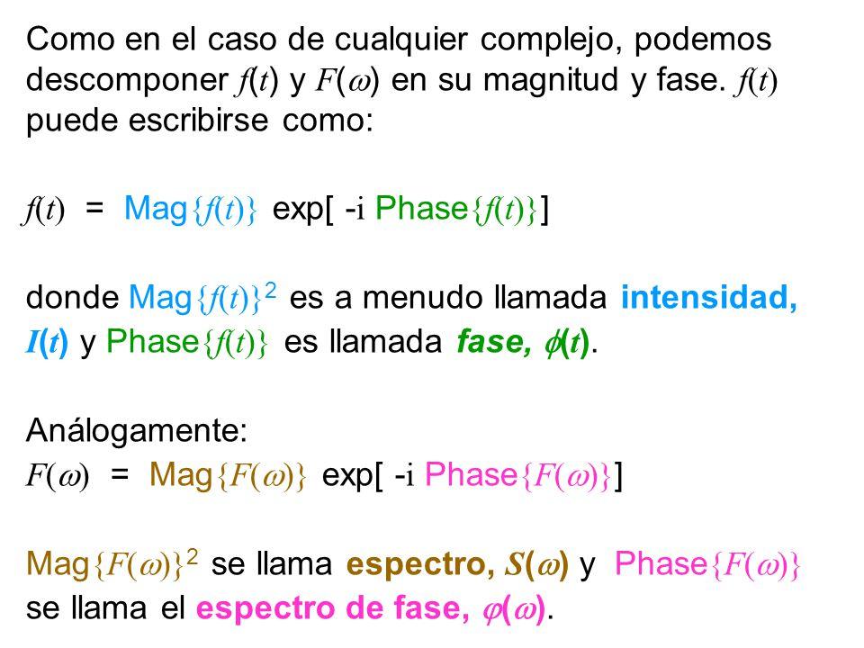 Fourier Transform Magnitude and Phase Como en el caso de cualquier complejo, podemos descomponer f ( t ) y F ( ) en su magnitud y fase. f(t) puede esc