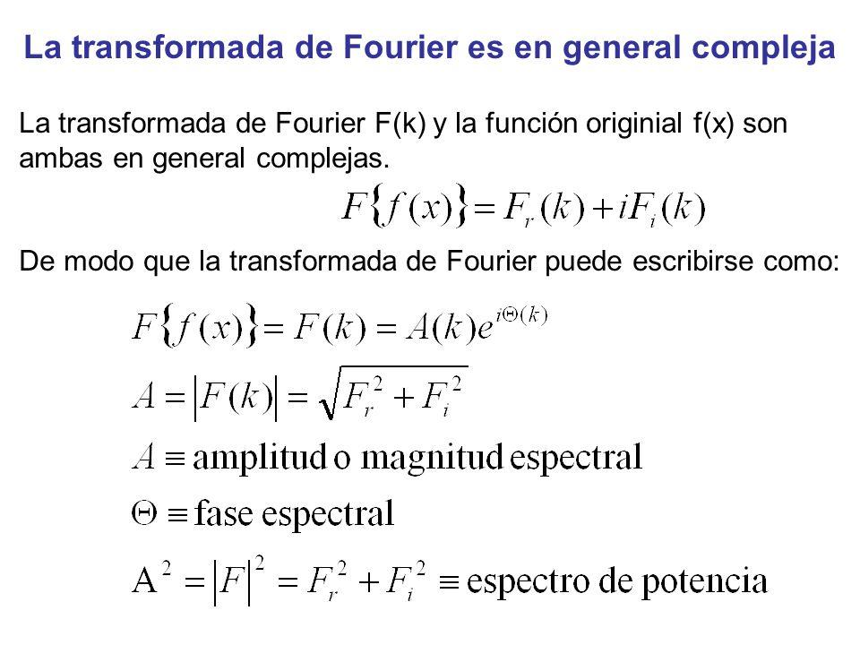 La transformada de Fourier es en general compleja La transformada de Fourier F(k) y la función originial f(x) son ambas en general complejas. De modo