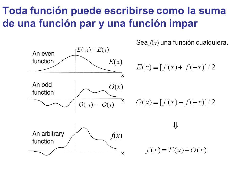 Toda función puede escribirse como la suma de una función par y una función impar E(-x) = E(x) O(-x) = -O(x) E(x)E(x) f(x)f(x) O(x)O(x) Sea f(x) una f