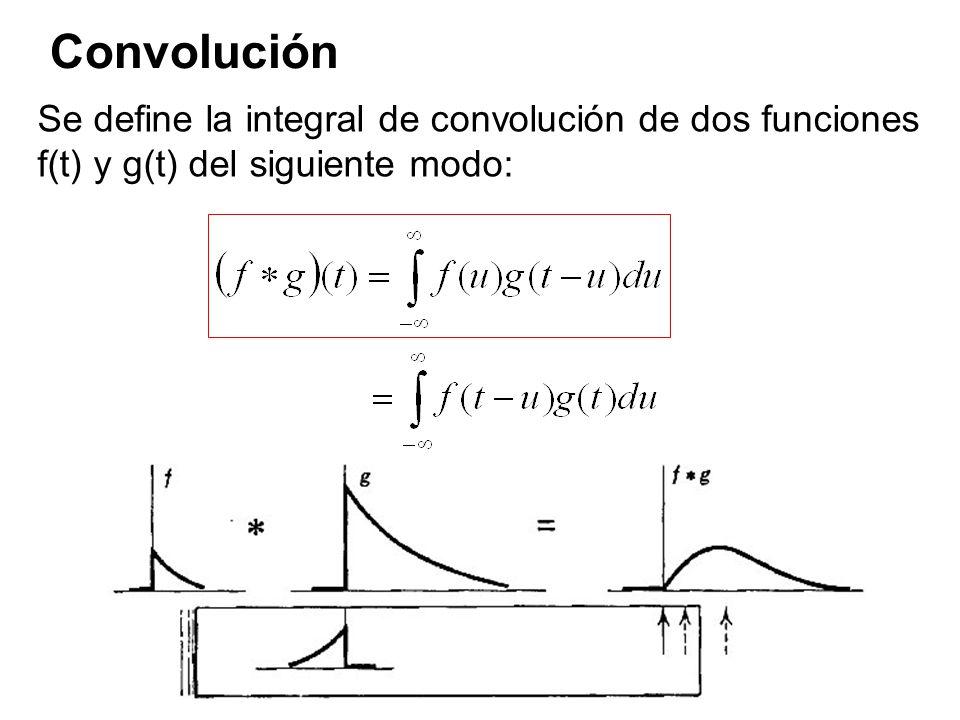 Convolución Se define la integral de convolución de dos funciones f(t) y g(t) del siguiente modo:
