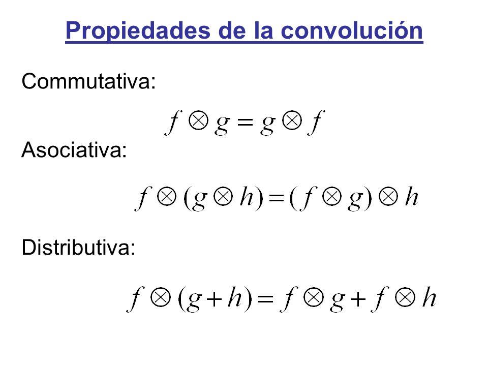 Propiedades de la convolución Commutativa: Asociativa: Distributiva: