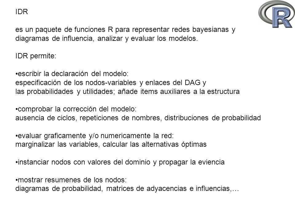 ## idl-main, 03-06-08 rm(list=ls(all=TRUE)) #### DATA #### source( models/asia.R ) #### PROC #### t1<-proc.time() ASIA <- marnod.eval( asia) t2<-proc.time() cat( TIME , t2-t1, \n ) dump.netG( ASIA) dump.netR( ASIA) diagrama = list( VisitToAsia = node.VisitToAsia, Smoking = node.Smoking, Tuberculosis = node.Tuberculosis, LungCancer = node.LungCancer, Bronchitis = node.Bronchitis, TbOrCa = node.TbOrCa, XRay = node.XRay, Dyspnea = node.Dyspnea ) asia <- bayesian.network.(diagrama) La red bayesiana es una lista de nodos Comprobaciones sintácticas y numericas Inicialización del espacio de ejecución Carga del modelo Evaluación Volcado a formato xdsl y R IDR: INICIO SESION EJEMPLO