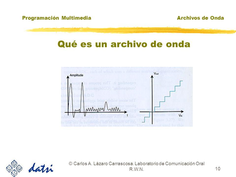 Programación MultimediaArchivos de Onda © Carlos A. Lázaro Carrascosa. Laboratorio de Comunicación Oral R.W.N. 9 Qué es un archivo de onda