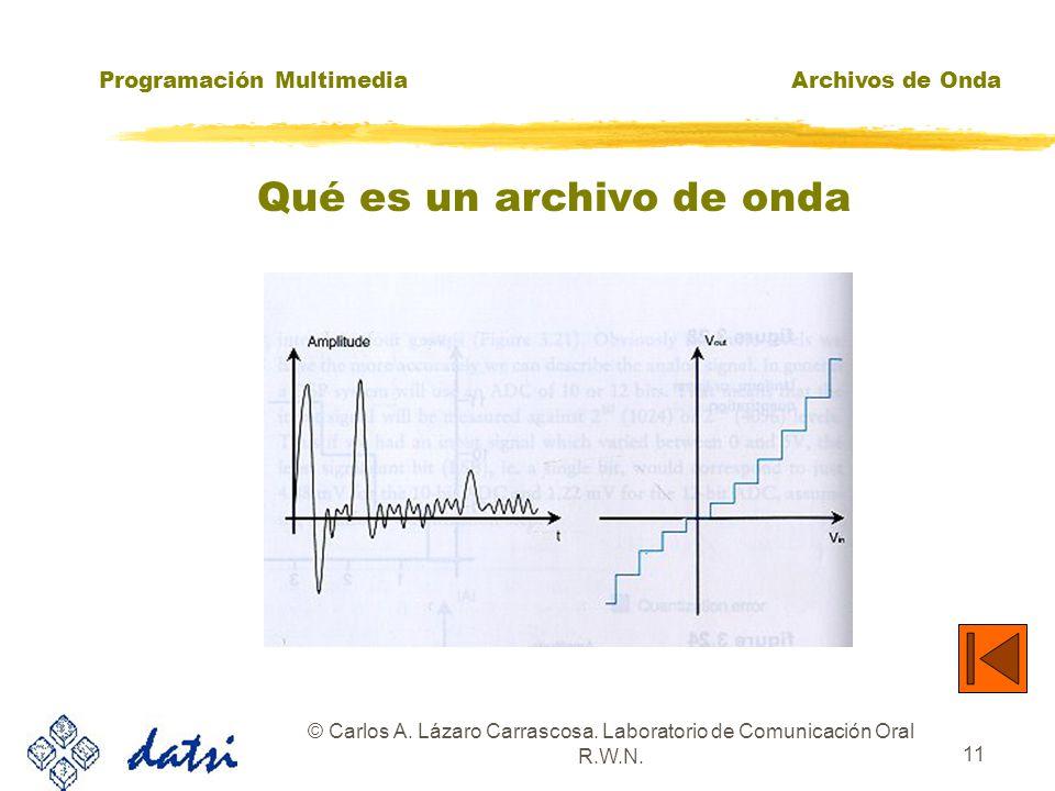 Programación MultimediaArchivos de Onda © Carlos A. Lázaro Carrascosa. Laboratorio de Comunicación Oral R.W.N. 10 Qué es un archivo de onda