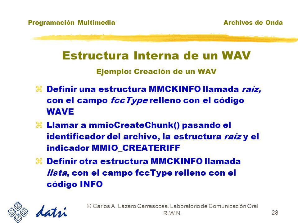 Programación MultimediaArchivos de Onda © Carlos A. Lázaro Carrascosa. Laboratorio de Comunicación Oral R.W.N. 27 RIFF WAVE LIST INFO ICOPICRD fmtdata
