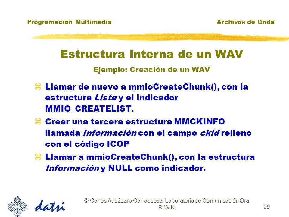 Programación MultimediaArchivos de Onda © Carlos A. Lázaro Carrascosa. Laboratorio de Comunicación Oral R.W.N. 28 zDefinir una estructura MMCKINFO lla