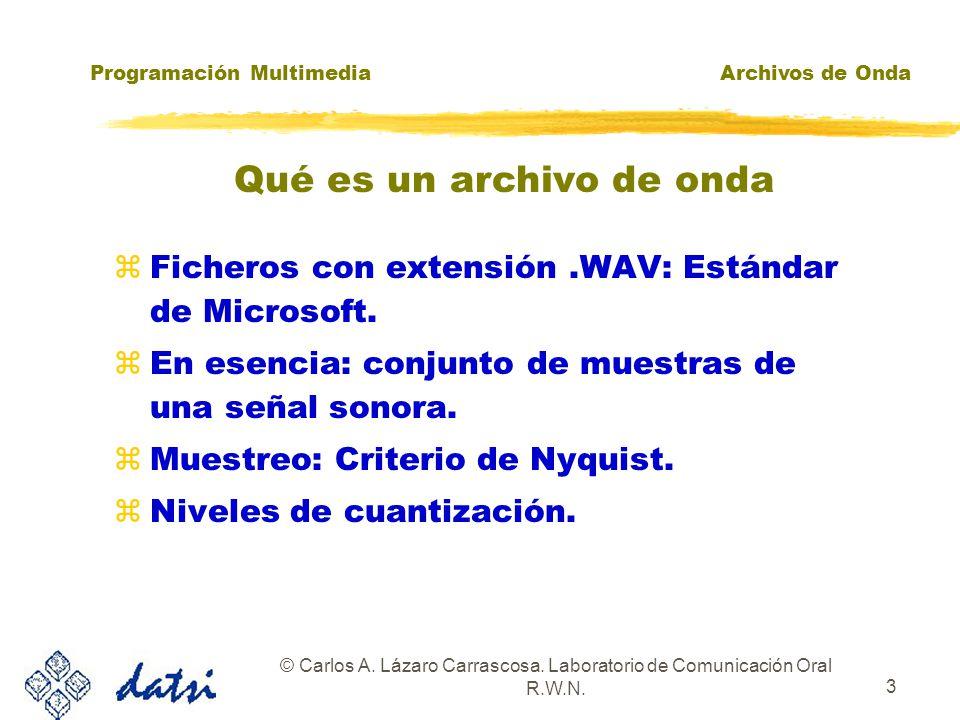 Programación MultimediaArchivos de Onda © Carlos A. Lázaro Carrascosa. Laboratorio de Comunicación Oral R.W.N. 2 zAPI de bajo nivelAPI de bajo nivel z