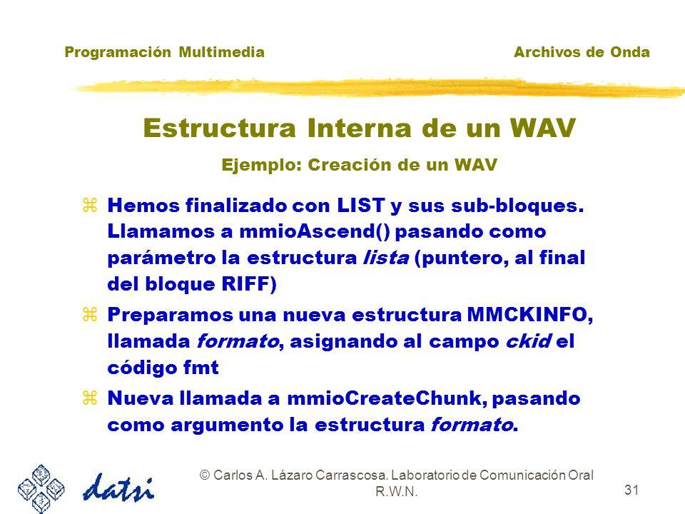 Programación MultimediaArchivos de Onda © Carlos A. Lázaro Carrascosa. Laboratorio de Comunicación Oral R.W.N. 30 zUtilizamos mmioWrite() para escribi
