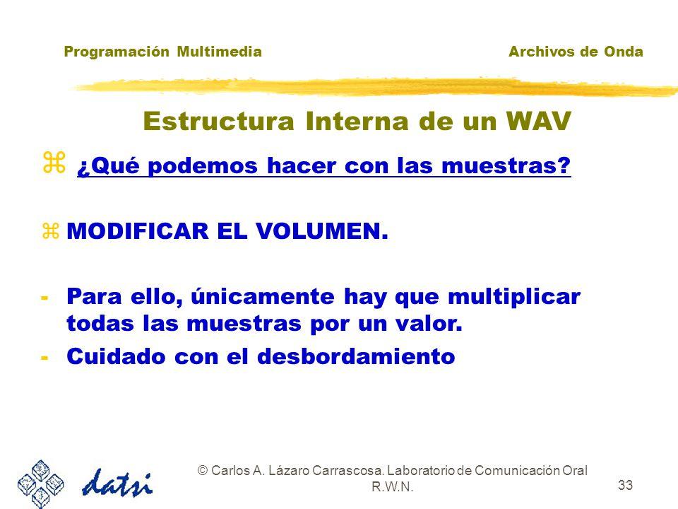 Programación MultimediaArchivos de Onda © Carlos A. Lázaro Carrascosa. Laboratorio de Comunicación Oral R.W.N. 32 zUsando mmioWrite() escribimos la in