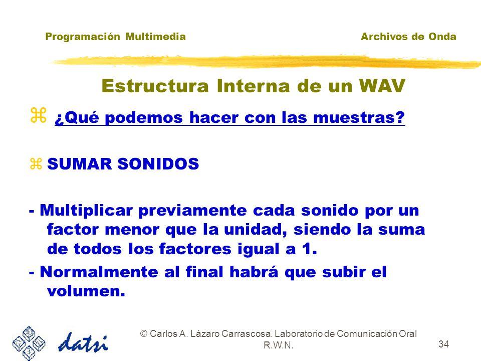 Programación MultimediaArchivos de Onda © Carlos A. Lázaro Carrascosa. Laboratorio de Comunicación Oral R.W.N. 33 ¿Qué podemos hacer con las muestras?