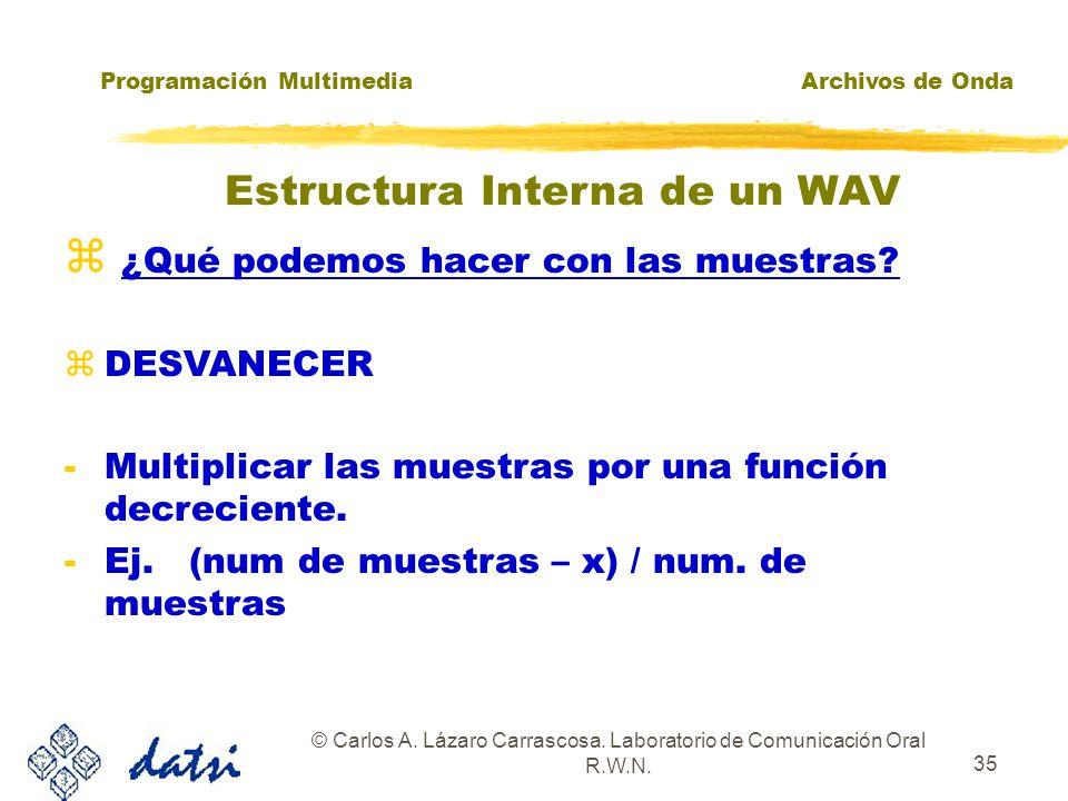 Programación MultimediaArchivos de Onda © Carlos A. Lázaro Carrascosa. Laboratorio de Comunicación Oral R.W.N. 34 ¿Qué podemos hacer con las muestras?
