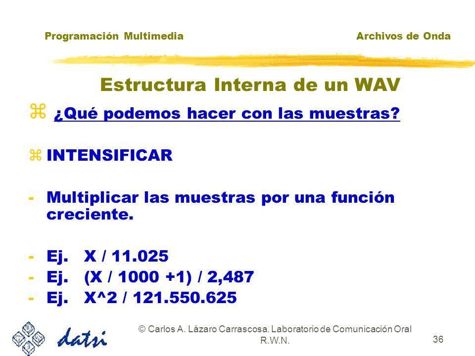 Programación MultimediaArchivos de Onda © Carlos A. Lázaro Carrascosa. Laboratorio de Comunicación Oral R.W.N. 35 ¿Qué podemos hacer con las muestras?