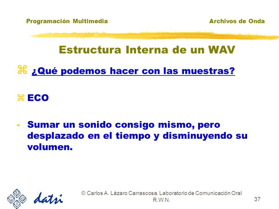 Programación MultimediaArchivos de Onda © Carlos A. Lázaro Carrascosa. Laboratorio de Comunicación Oral R.W.N. 36 ¿Qué podemos hacer con las muestras?