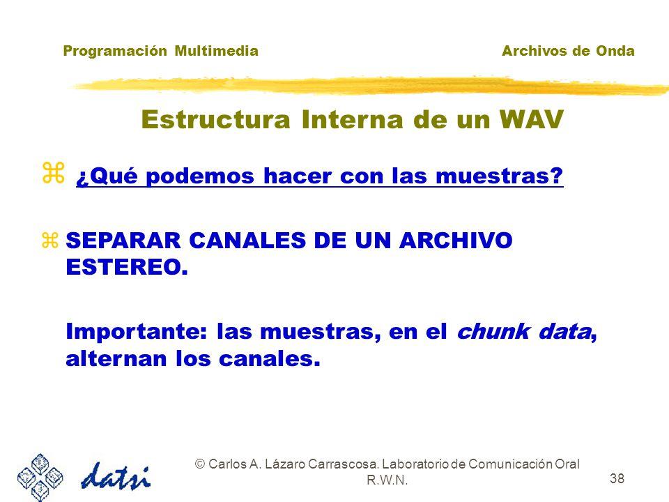 Programación MultimediaArchivos de Onda © Carlos A. Lázaro Carrascosa. Laboratorio de Comunicación Oral R.W.N. 37 ¿Qué podemos hacer con las muestras?